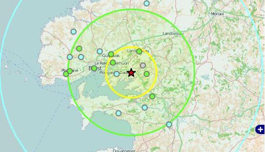 L'épicentre du séisme ressenti à Brest et Quimper, le 11 octobre 2013, se situe aux environs de Loperhet.