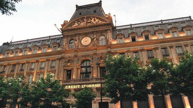 Le siège du Crédit Lyonnais, à Paris, le 9 juin 1993.