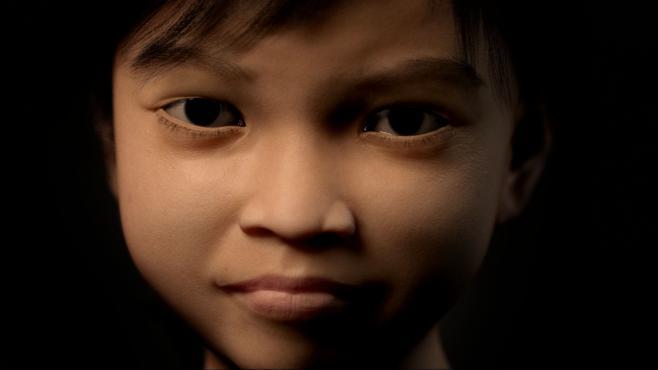Sweetie, l'enfant virtuelle créée par l'ONG Terre des Hommes, présentée à la presse le 4 novembre 2013.