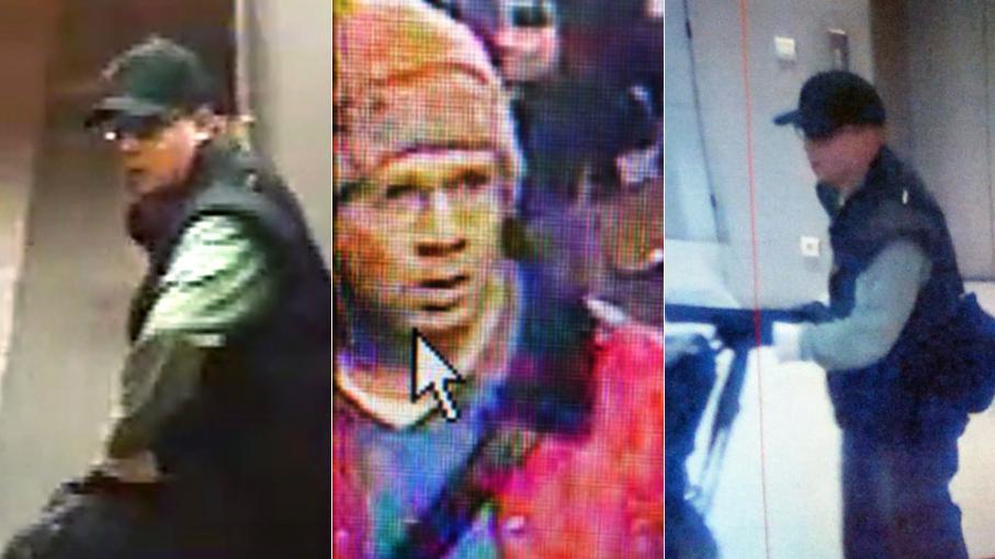 Photomontage de captures vidéo du tireur recherché par les forces de l'ordre, réaliséesà Paris entre le 15 et le 18 novembre 2013.