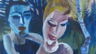 Photographie de Couple au paysage, un tableau du peintre expressionniste allemandConrad Felixmüller retrouvé dans un appartement munichois et présenté le 11 novembre 2013 au public.