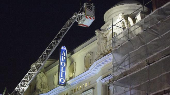 L'Apollo Theatre après l'effondrement de son plafond,le 19 décembre 2013, à Londres.