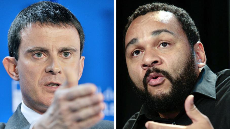 Manuel Valls (à gauche), le 7 janvier 2014 à Bruxelles (Belgique) et Dieudonné M'bala M'bala (à droite), le 29 novembre 2009 à Paris.