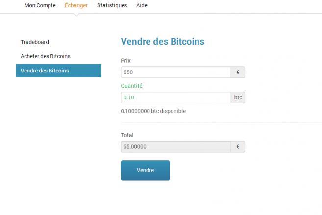 Un ordre de vente sur le site Bitcoin-Central.