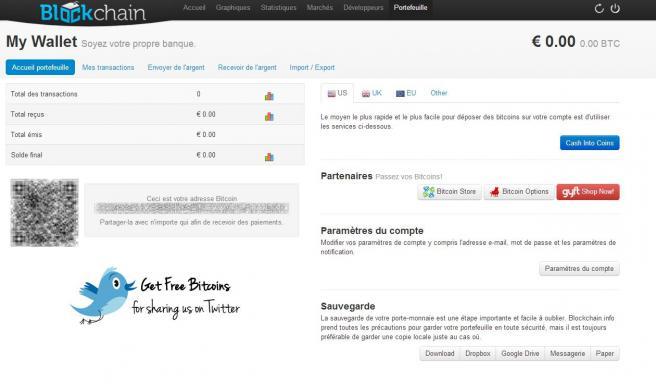 Un porte-monnaie pour bitcoins créé sur le site Blockchain.info.