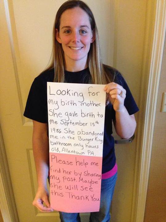 Capture d'écran du message posté sur Facebook par une Américaine pour retrouver sa mère biologique, le 2 mars 2014.