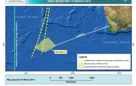 La zone de recherches australienne, sur le site de l'Autorité australienne de sécurité maritime (AMSA), jeudi 20 mars 2014.