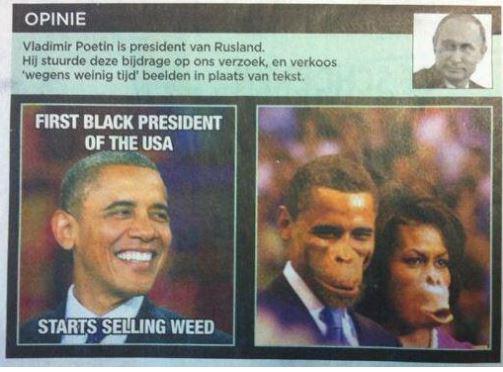 """Le photomontage raciste du coupe Obama,publiésamedi 22 mars 2014, dans lejournal belge """"De Morgen""""."""