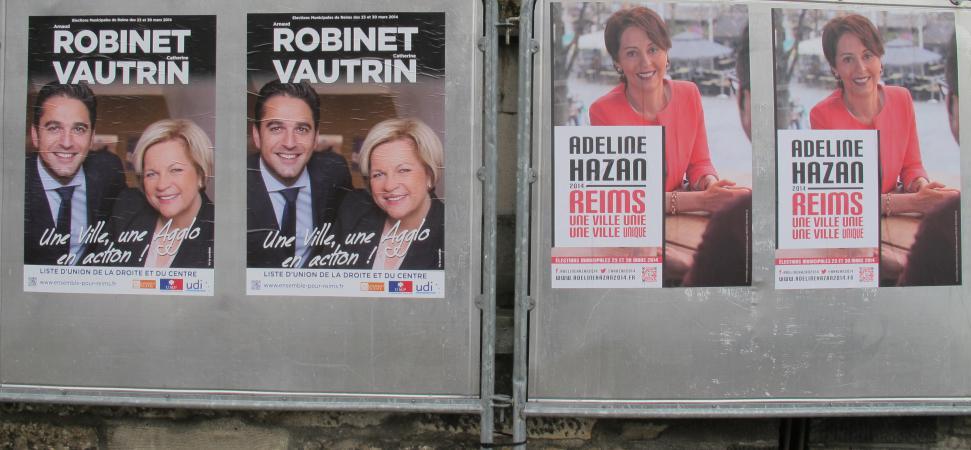 18375be2493e Des affiches  eacute lectorales dans le centre de Reims (Marne), mardi 18
