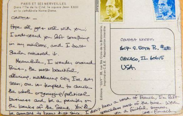 La carte postale écrite en 1988 par Barack Obama, adressée à Cynthia Norris, pour qui travaillait le futur chef de l'Etat américain.