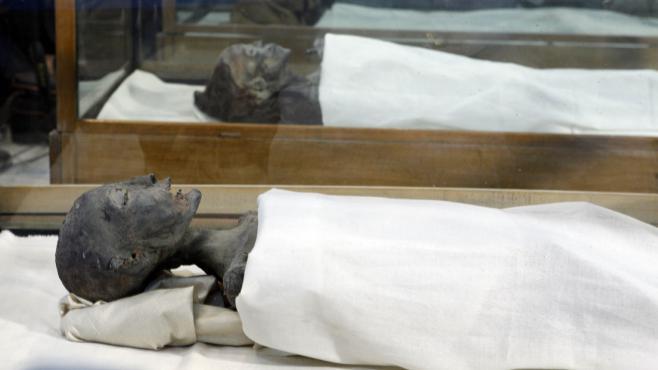 La momie de la mère de Toutankhamon, lors d'une exposition au musée du Caire (Egypte), le 17 février 2010.
