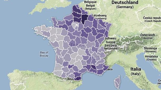 CARTE. Européennes : l'essor du vote FN par département