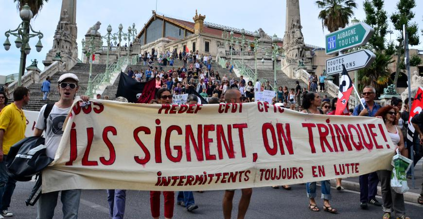 Une manifestation d'intermittents du spectacle, le 16 juin 2014 à Marseille.
