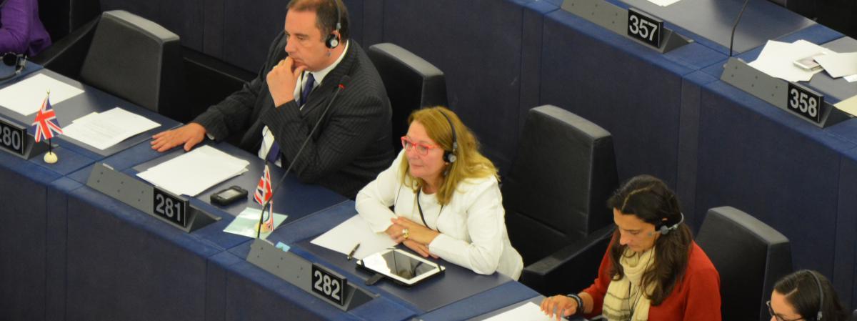 La députée Joëlle Bergeron (en blanc, avec les lunettes rouges) assiste à une séance du Parlement européen, le 2 juillet 2014, à Strasbourg (Bas-Rhin).