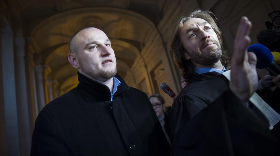 Marc Machin et son avocat le 17 décembre 2012, jour de l'ouverture de son procès en révision et 3 jours avant son acquittement.