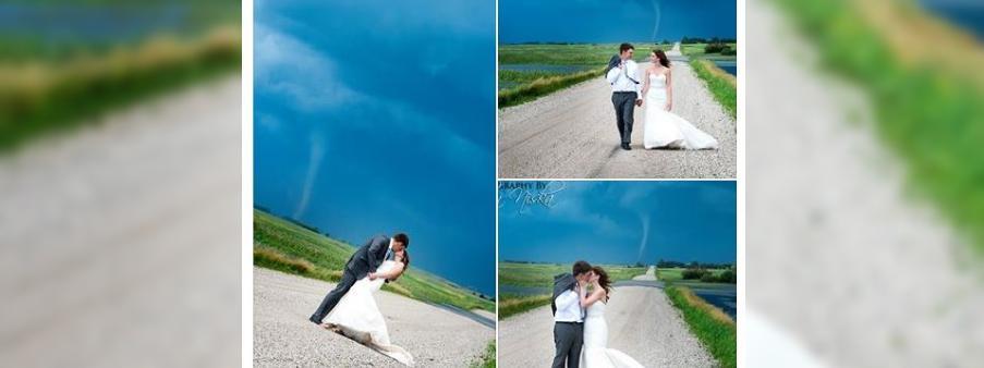 un couple canadien pose devant une tornade pour ses photos de mariage. Black Bedroom Furniture Sets. Home Design Ideas