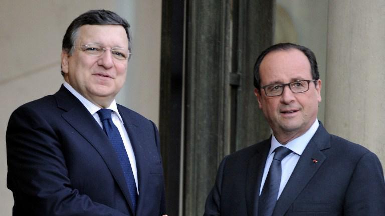François Hollande reçoit José Manuel Barroso à l'Elysée, le 9 juillet 2014.
