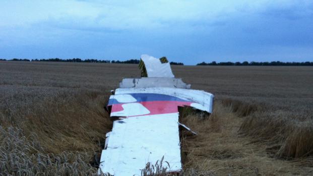 L'un des débris du Boeing 777 qui s'est écrasé avec 295 personnes à bord, jeudi 17 juillet dans l'est de l'Ukraine.