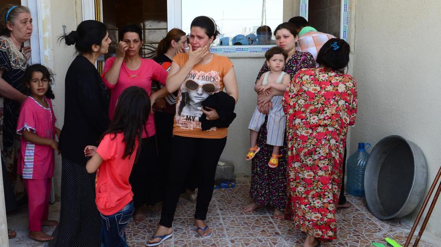 Des familles chrétiennes d'Irak habitant à Mossoul et réfugiées à Arbil, le 19 juillet 2014.