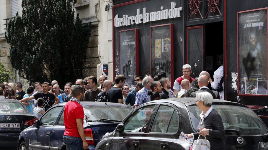 Le public venu voir Dieudonné le 26 juillet 2014 au théâtre de la Main d'or à Paris, .