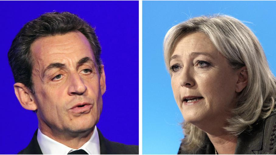 """L'ancien président de la République Nicolas Sarkozy et la présidente du FN Marien Le Pen, donnés qualifiés pour le second tour de la présidentielle 2017, selon un sondage Ifop pour """"Marianne"""",publié le 1er août 2014."""