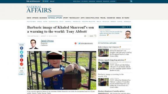 """La photo du jeune garçon, utilisée dans cet article du journal """"The Australian"""", a été retirée de Twitter, et le compte de son père fermé."""