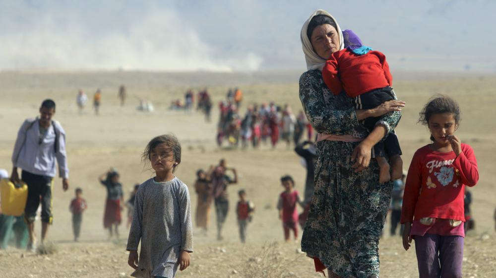 Des déplacés yézidis marchent vers la frontière syrienne pour fuir une offensive jihadiste, le 11 août 2014 en Irak.