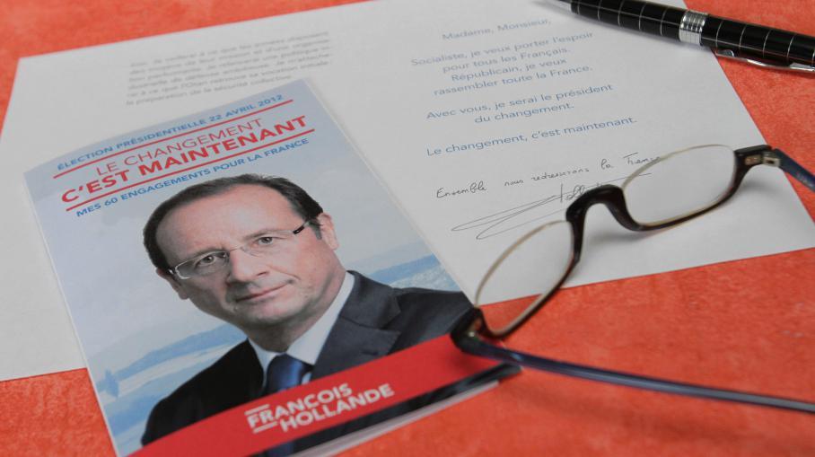 """Le programme de François Hollande et ses """"60 engagements pour la France"""", dévoilés en janvier 2012."""