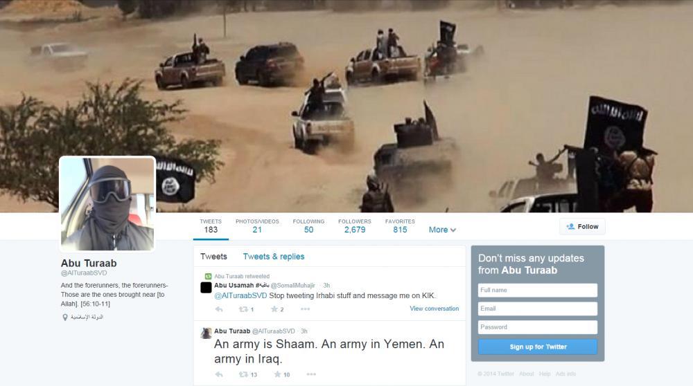 """Le compte Twitter d'Abu Turaab, jihadiste de l'Etat islamique, juste avant sa fermeture. """"Une armée à Cham (Syrie). Une armée au Yémen. Une armée en Irak""""ecrit-il."""