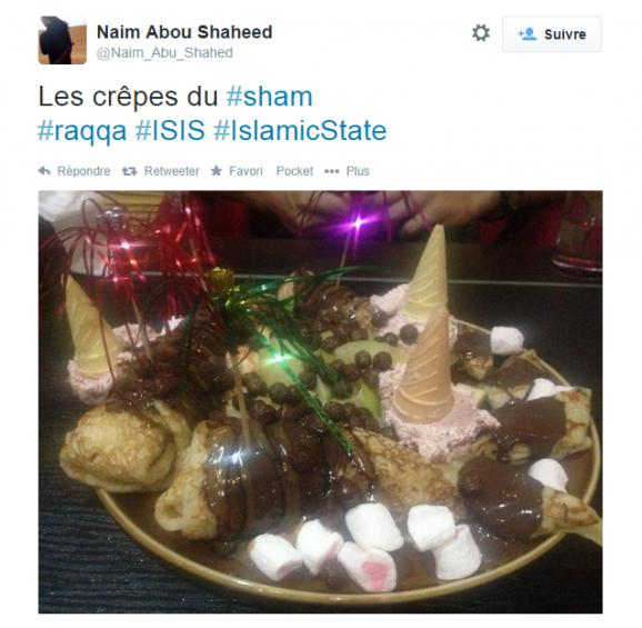 Le copieux dessert d'un jihadiste français qui dit être à Raqqa, en Syrie, le 2 septembre 2014.
