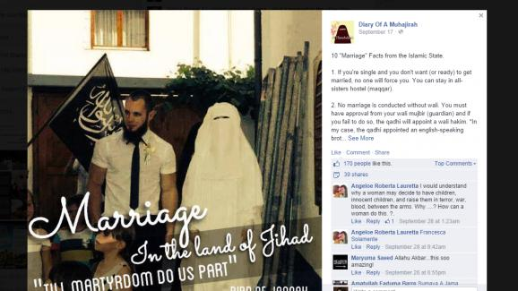 """""""10 faits sur le mariage dans l'Etat islamique"""" sur la page Facebook """"Journal d'une Muhajirah""""."""