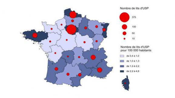 Nombre de lits en unités de soins palliatifs (USP) par régions en 2011.