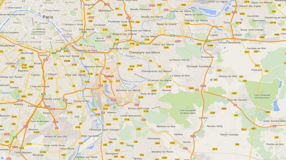 Capture d'écran d'une carte pointant la ville de Créteil (Val-de-Marne) où a eu lieu une violente agression le 1er décembre 2014.