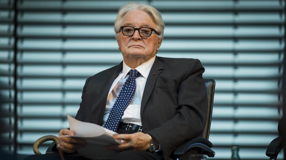 L'ancien ministre des Affaires étrangères Roland Dumas à Berlin (Allemagne), le 7 novembre 2014.