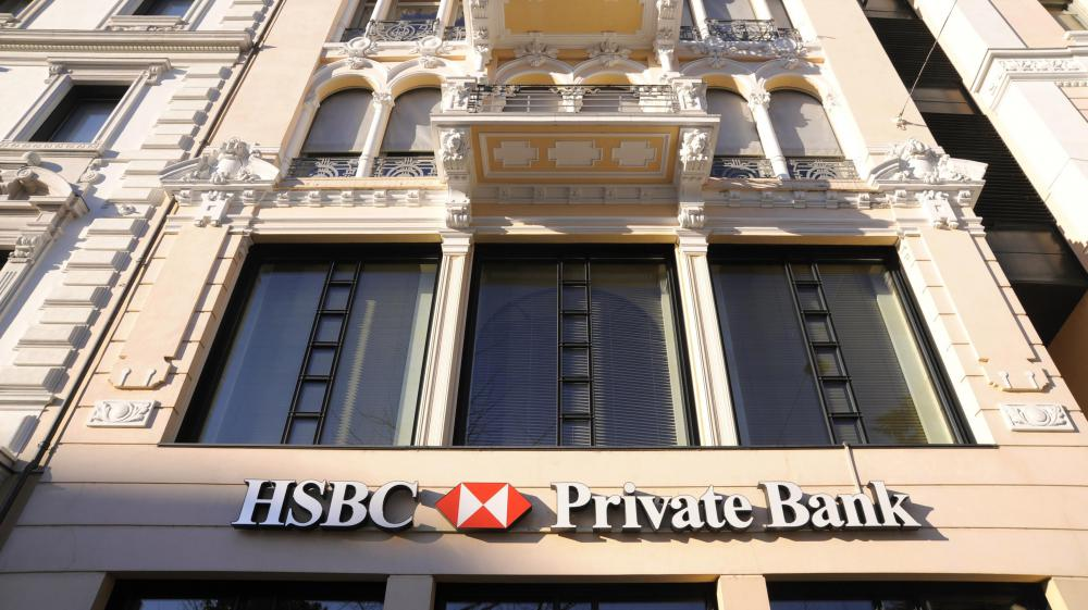 Photo prise le 19 avril 2013 devant des bureaux de la banque HSBC à Lugano (Suisse).