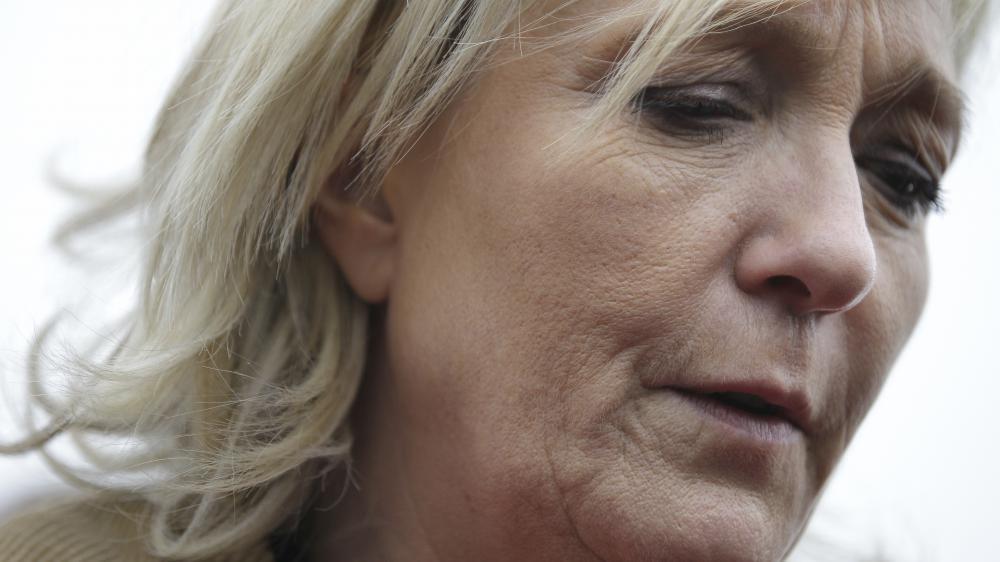Marine Le Pen, présidente du FN, à Juilley (Manche), le 20 mars 2015.