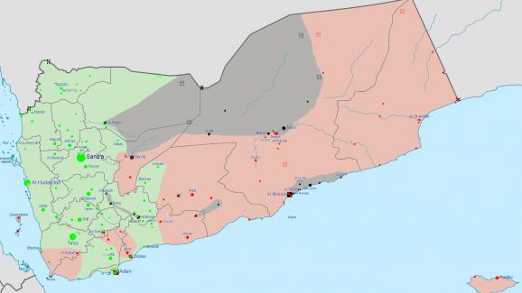 En vert, les zones contrôlées par les houthis et en rouge, celles contrôlées par le groupe terroriste Aqpa.
