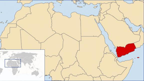 Carte du Moyen-Orient avec le Yémen représenté en rouge.