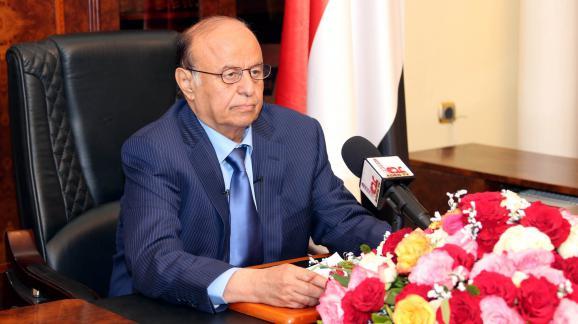 Le président légitime du Yémen,Abd Rabo Mansour Hadi, lors d'une conférence de presse à Aden, le 21 mars2015.