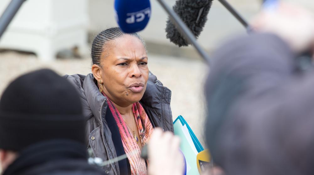 La garde des Sceaux, Christiane Taubira, quitte l'Elysée après le Conseil des ministres, le 4 mars 2015.