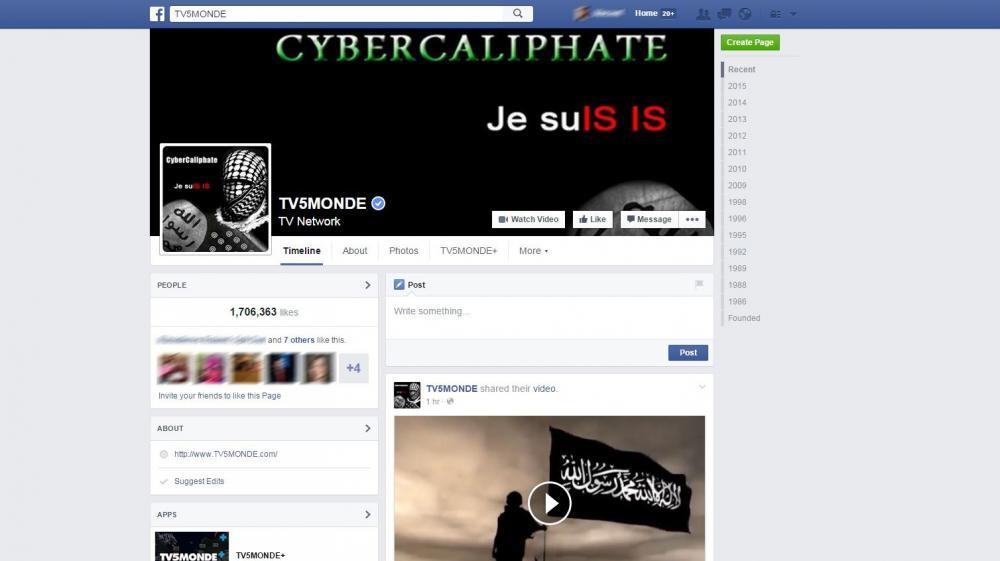 La page Facebook de TV5 Monde, piratée par des individus se réclamant de l'organisation Etat islamique,mercredi 8 avril 2015.