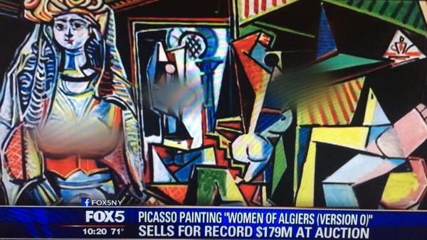 """Une photo du tableau """"Les Femmes d'Alger"""", version O, de Picasso, flouté par la chaîne américaine Fox 5."""