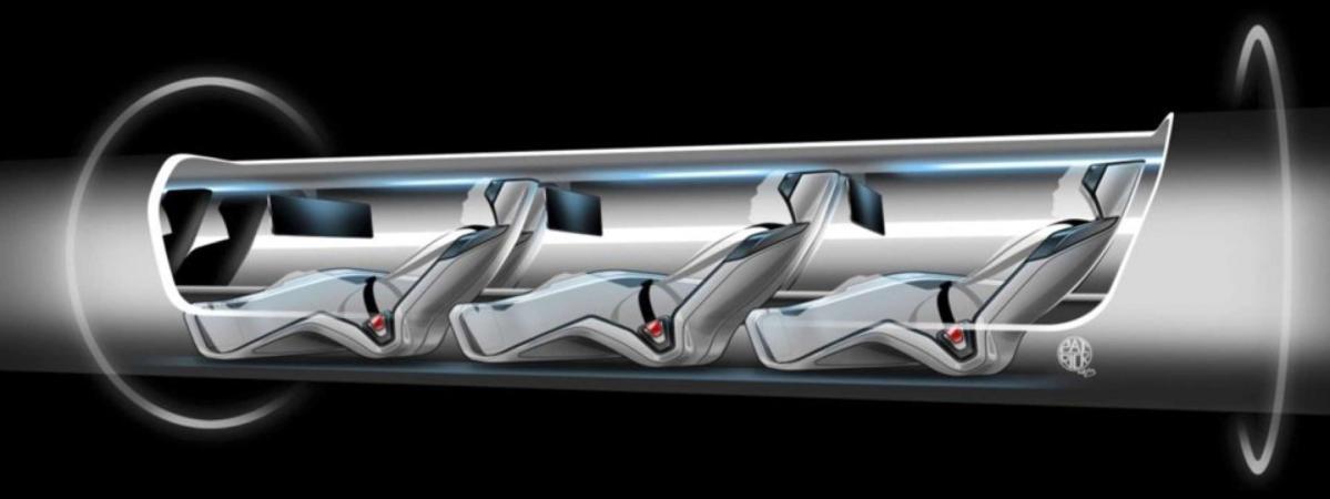 Un croquis de l'Hyperloop, moyen de transport quasi-supersonique, est présenté le 12 août 2013 par le constructeur Tesla Motors.