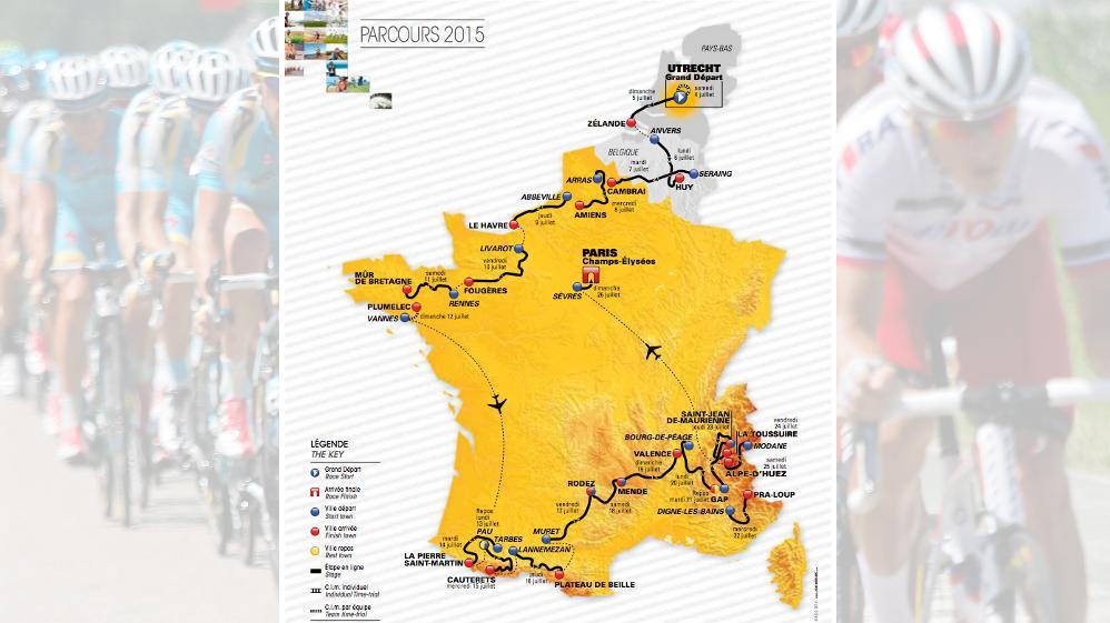 Cyclisme : découvrez le parcours du Tour de France 2015