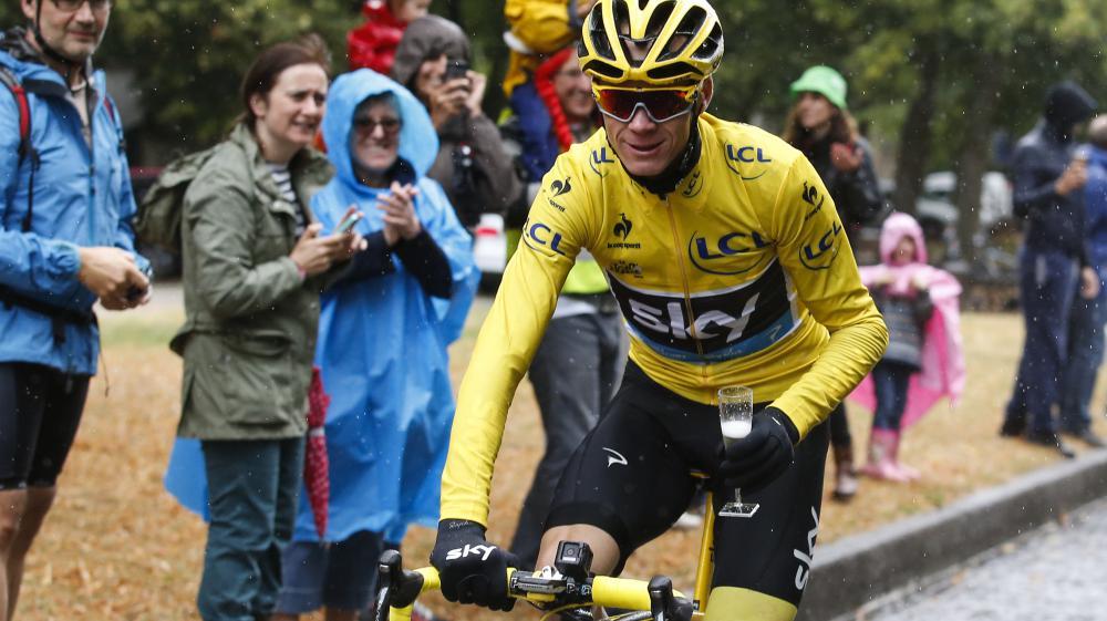 Le Britannique Christopher Froome, le 26 juillet 2015 lors de la dernière étape de la 102e édition du Tour de France.