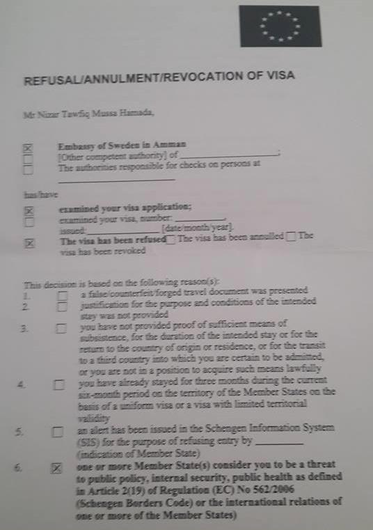 Le refus de visa d'entrée en Suède opposé à Nizar Hamada.