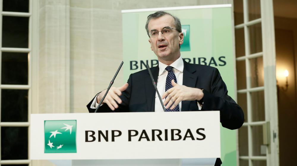 François Villeroy de Galhau s'exprime lors d'une conférence de presse de BNP Paribas, le 13 février 2014, à Paris. (MAXPPP)