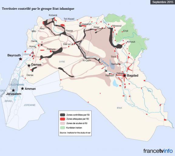 L'avancement du groupe Etat islamique, début septembre 2015.