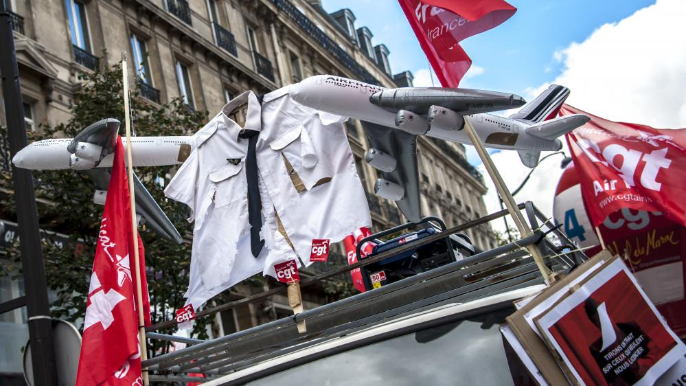 Une manifestation de la CGT d'Air France, le 8 octobre 2015 à Paris.