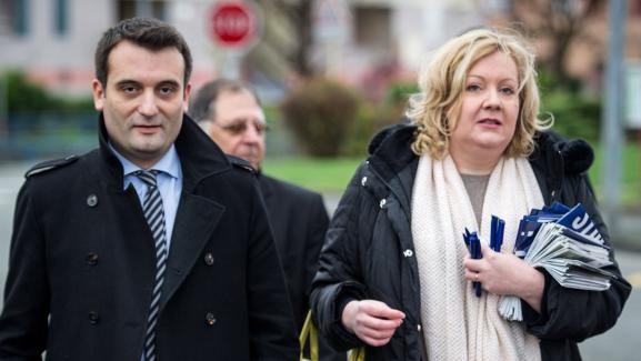 Florian Philippot et Sophie Montel, le 1er décembre à Delle (Territoire de Belfort).